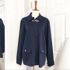 Ralph Lauren Navy Jacket with Gold Buckle Closure